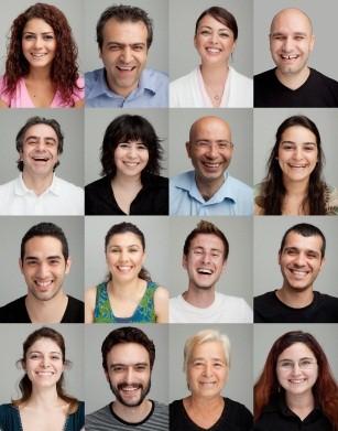 Laughing smiling faces, enjoying Laughter Yoga